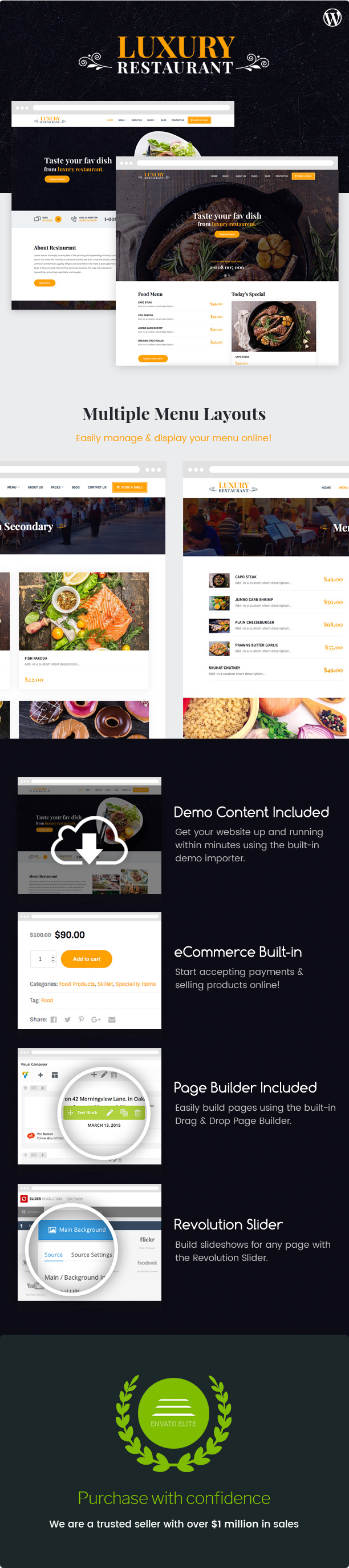 WordPress theme Luxury - Restaurant & Cafe Theme (Restaurants & Cafes)