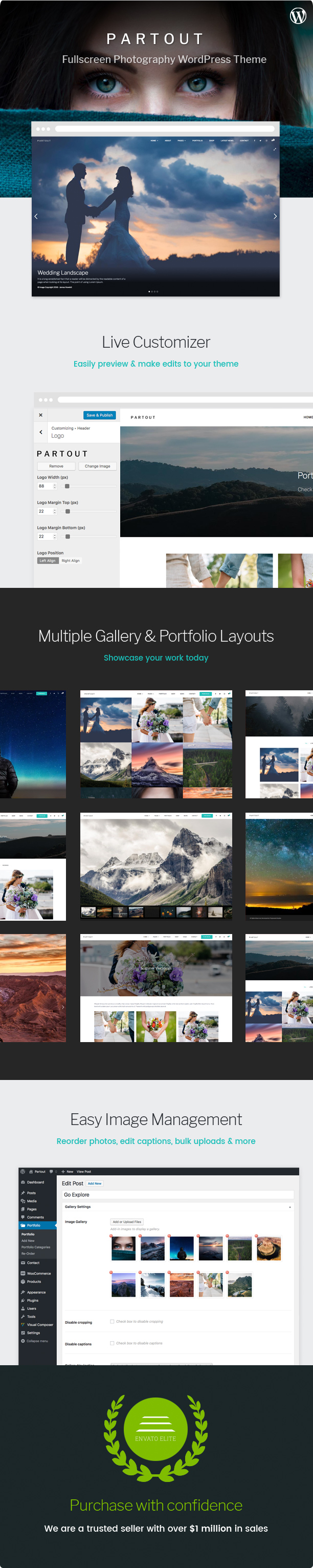 WordPress theme Partout - Fullscreen Photography Theme (Photography)