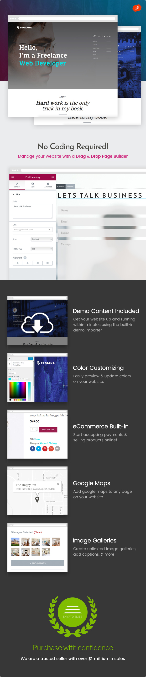 WordPress theme Protana - A Portfolio Theme for Online Professionals (Portfolio)